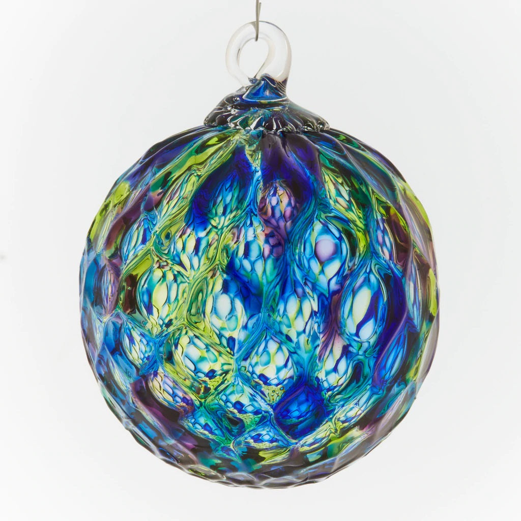 Blue Mosaic Diamond Facet Ornament