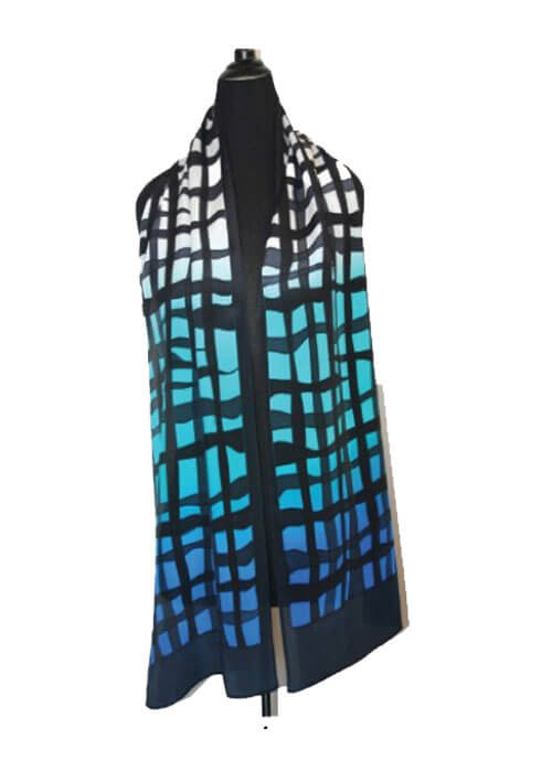 Blue Scarf With Hand Painted Mesh Patern