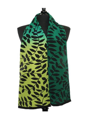 Green Ombre Leaf Silk Crepe Scarf