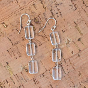 Triple Tile Glass Earring in Crystal Clear
