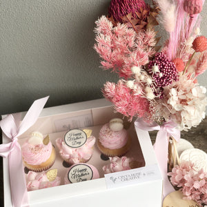 Cinta Rose 6 Pack of Mother's Day Cupcakes & Petite Preserved Arrangement