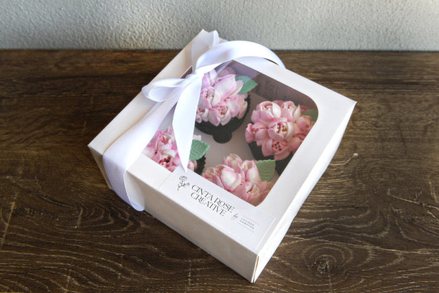Cinta Rose 4 Pack of Mother's Day Cupcakes & Petite Posy