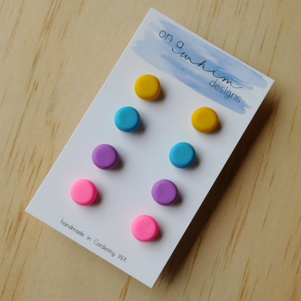 On A Whim Designs Stud Pack Bright Earrings