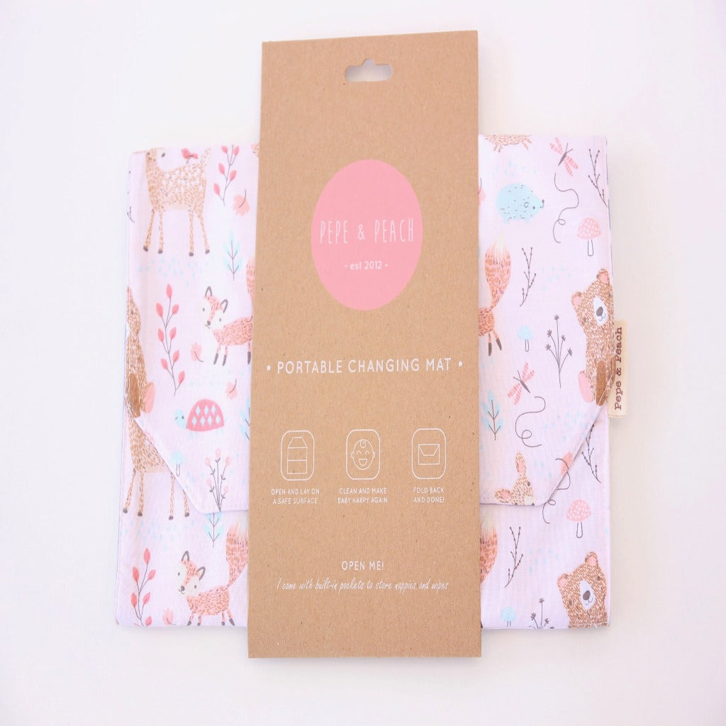 Pepe And Peach Portable Change Mat – Pink Woodland