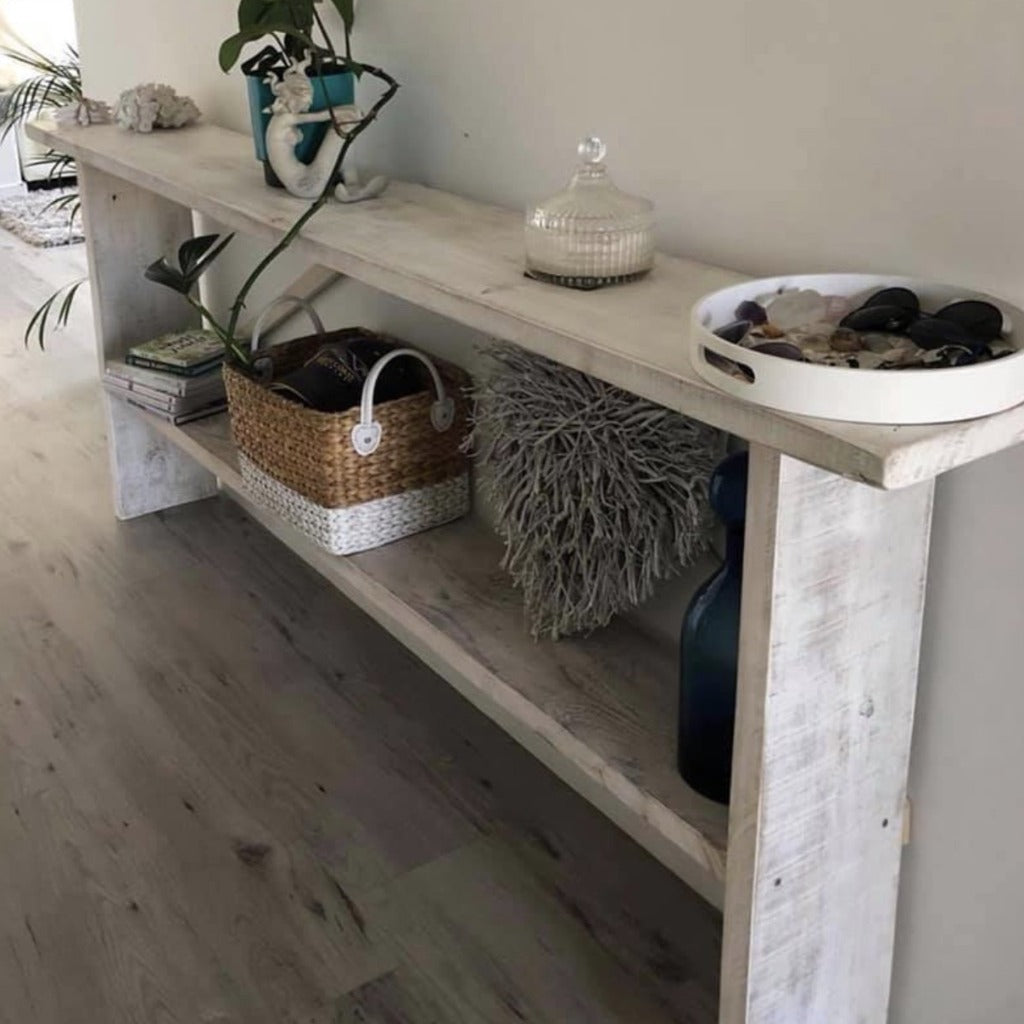 Rustic Chix Whitewash Hall/Console Table