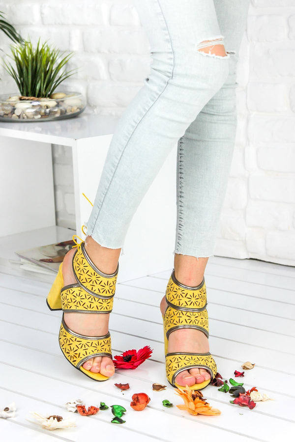 Lemon Suede High Heels - Mythical Kitty