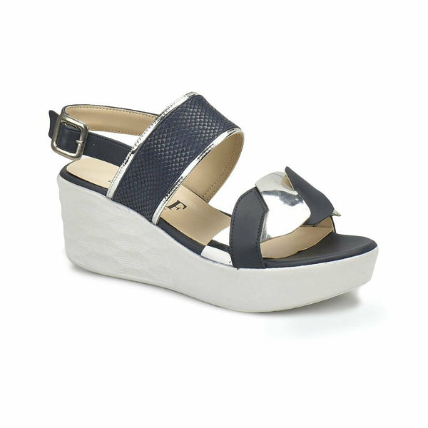Wedge Sandals Monica Navy Blue Wedge Sandals - Mythical Kitty