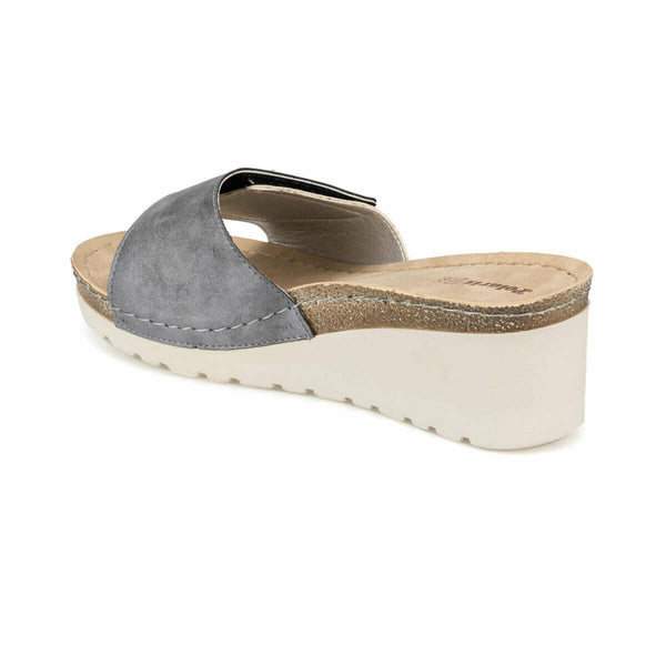 Slide Sandals Stars Grey Wedge Slippers - Mythical Kitty