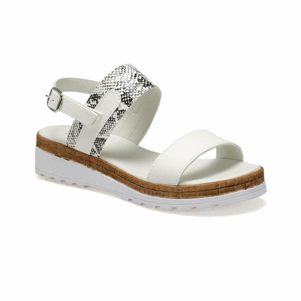 Wedge Sandals Snakeskin Pattern White Sandals - Mythical Kitty