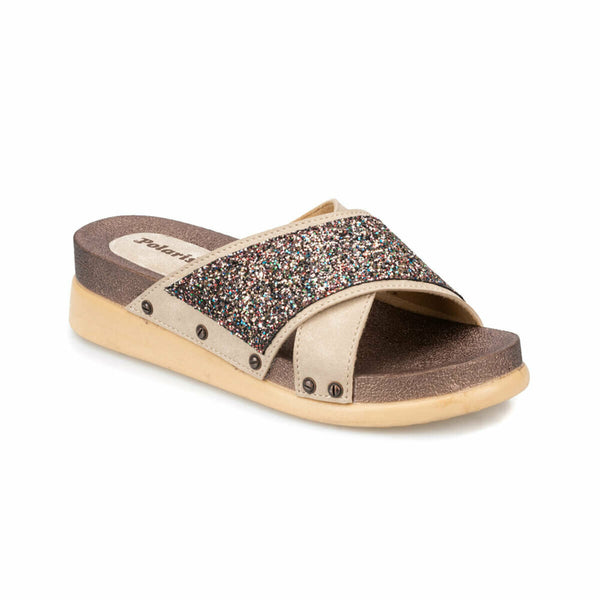 Slide Sandals Cross Strap Glittery Sandals - Mythical Kitty