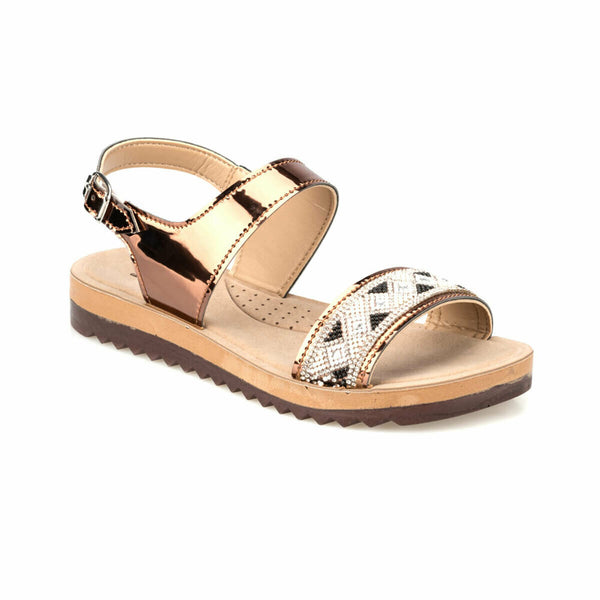 Slide Sandals Bronze Buckle Slide Sandals - Mythical Kitty