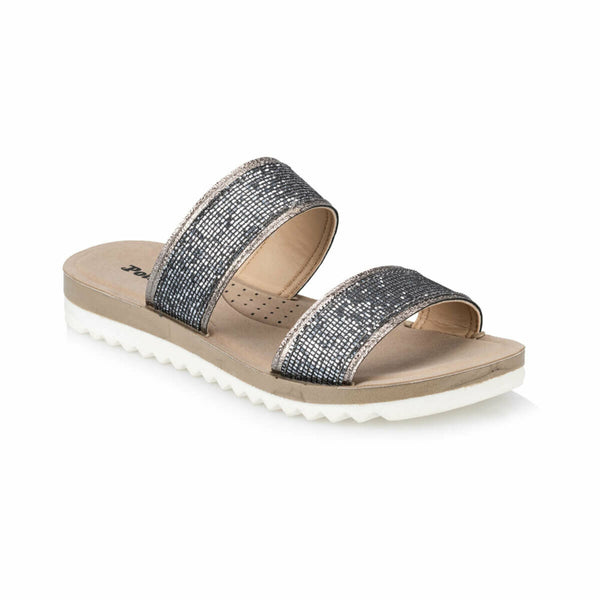 Flat Sandals Shiny Silver Sandals - Mythical Kitty
