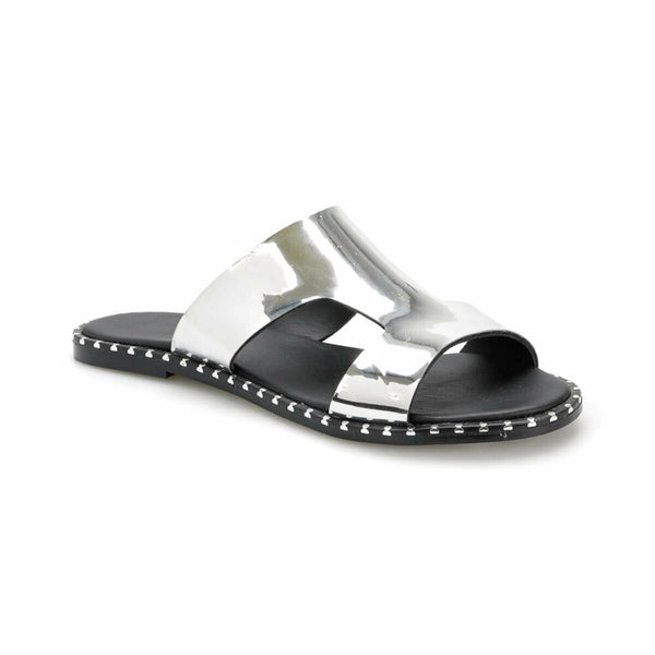 Flat Sandals Stylish Silver Flat Sandals - Mythical Kitty
