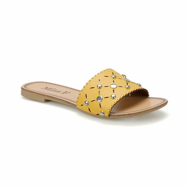 Flat Sandals Studded Yellow Slide Sandals - Mythical Kitty