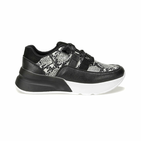 Sneakers Snake Pattern Black Leather Sneakers - Mythical Kitty