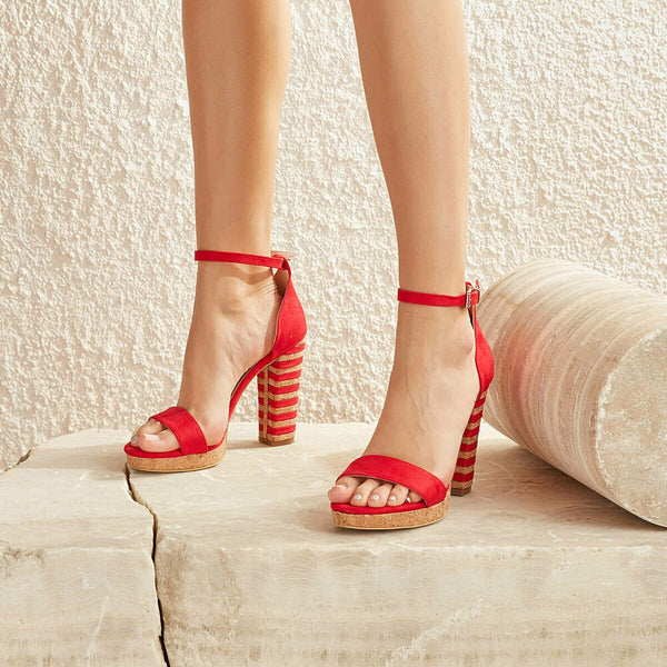 High Heel Sandals Red Corcho Ankle Strap Heeled Sandals - Mythical Kitty