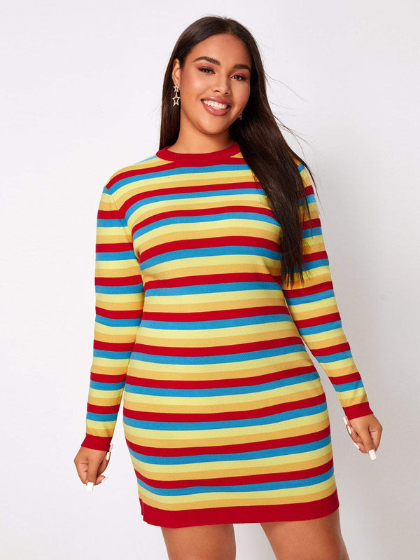 Sweater Dresses Plus Size Colorful Striped Sweater Dress - Mythical Kitty