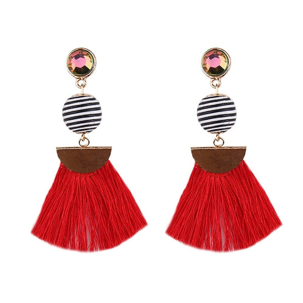 Drop Earrings Fringe and Stripes Earrings - Mythical Kitty