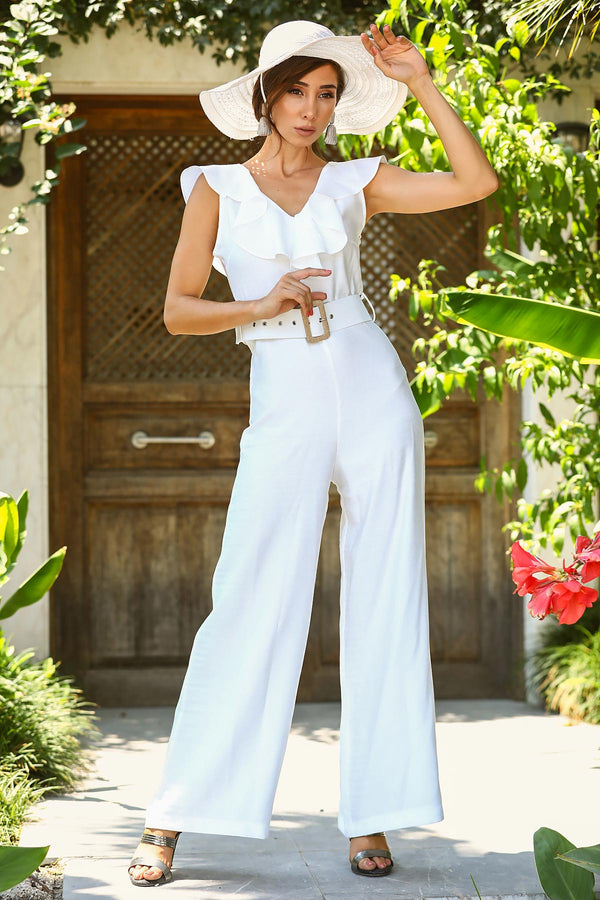 Jumpsuits Linda Belted Linen Jumpsuit - Mythical Kitty