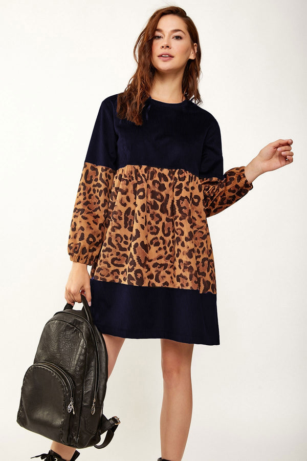 Mini Dresses Leopard Print Contrast Velvet Dress - Mythical Kitty