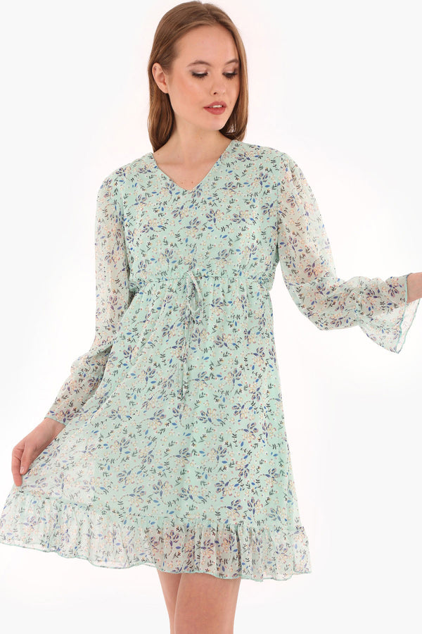 Mini Dresses Floral Long Sleeve Chiffon Dress - Mythical Kitty