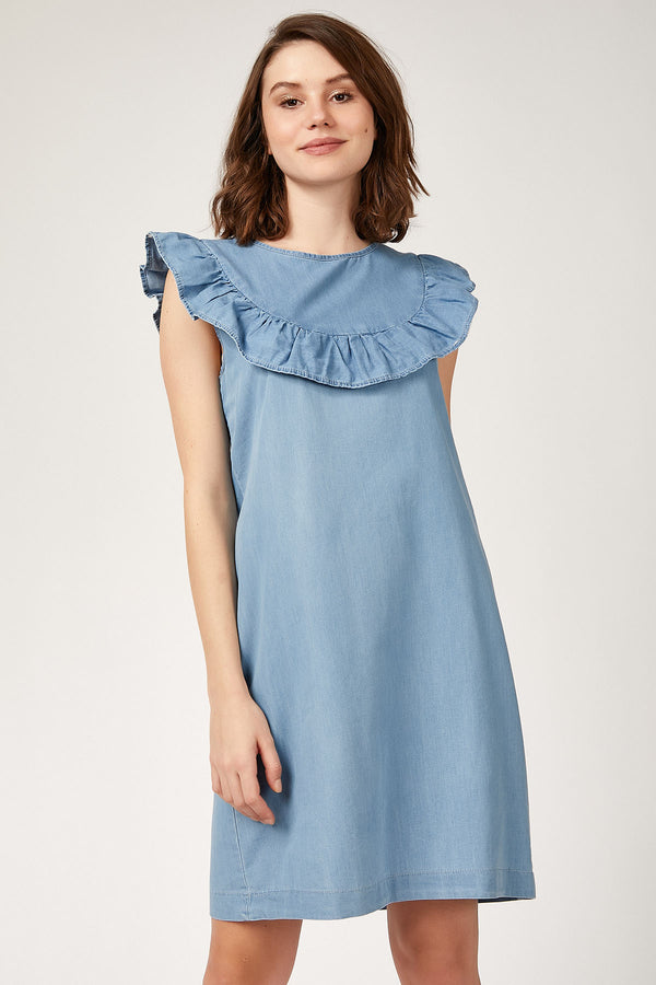 Mini Dresses Frill Detail Denim Dress - Mythical Kitty