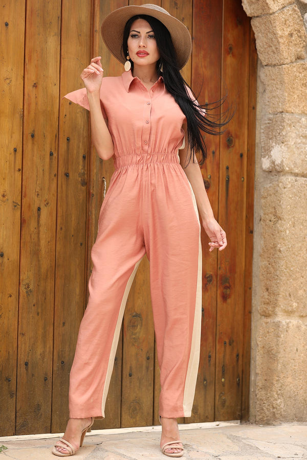 Jumpsuits Two-Tone Salmon Orange Jumpsuit - Mythical Kitty