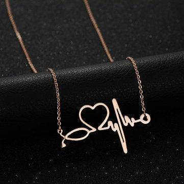 Stainless Steel Electrocardiogram Necklace - Mythical Kitty