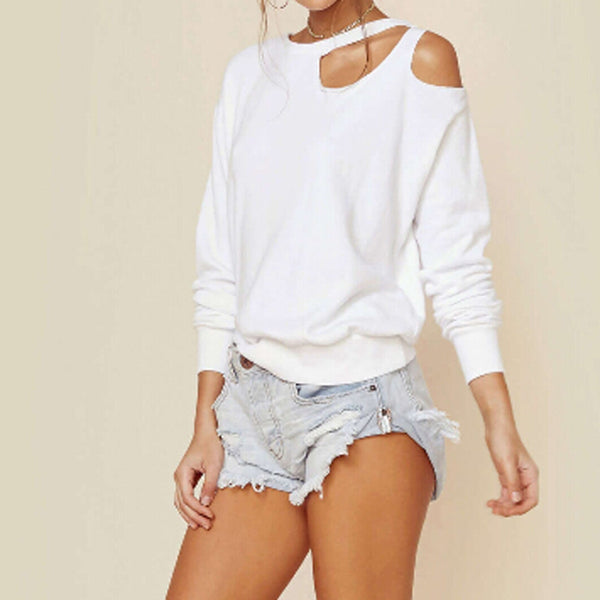 Long Sleeve Tops Peak-A-Boo Off Shoulder Top - Mythical Kitty