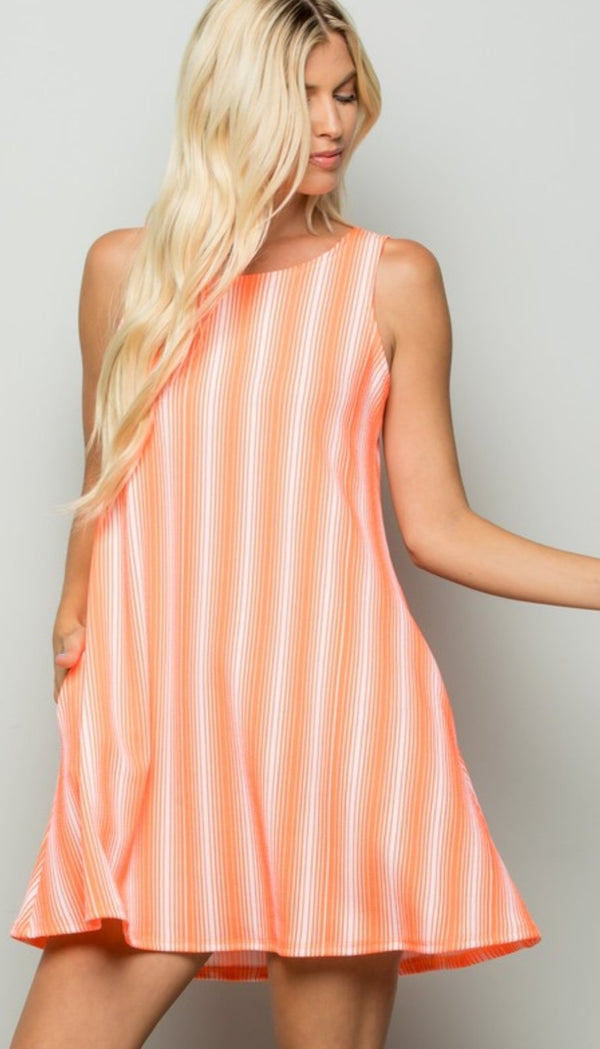 Mini Dresses Brianna Neon Coral Striped Dress - Mythical Kitty