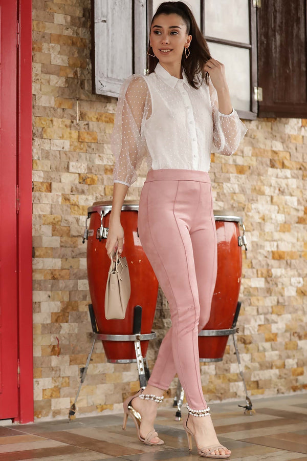 Pants Powder Rose Suede Pants - Mythical Kitty