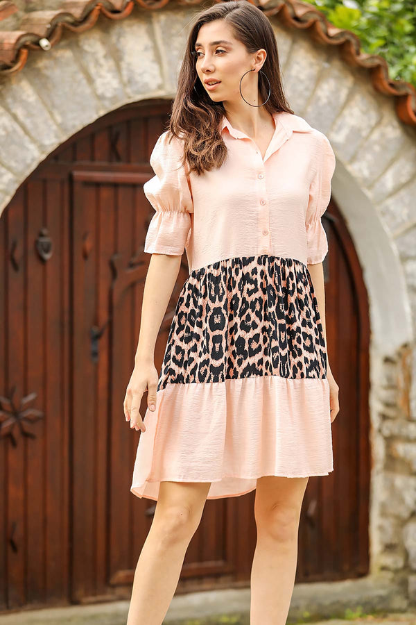 Mini Dresses Balloon Sleeves Leopard Dress - Mythical Kitty