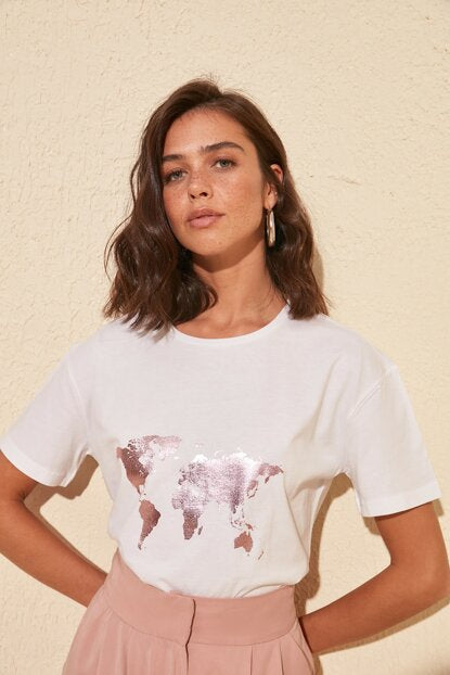 Graphic T-Shirts Glam World Map Tee - Mythical Kitty
