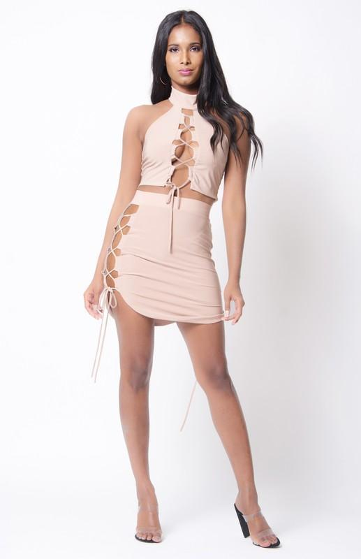 Co-ord Sets Lace Up Solid Two Piece Set - Mythical Kitty