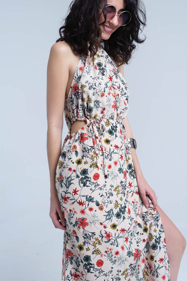 Halter Dresses Evelina Floral Midi Dress - Mythical Kitty