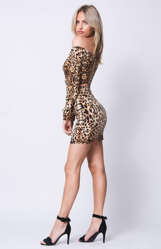 Women - Apparel - Suits - Classic Off Shoulder Animal Print Set - Mythical Kitty