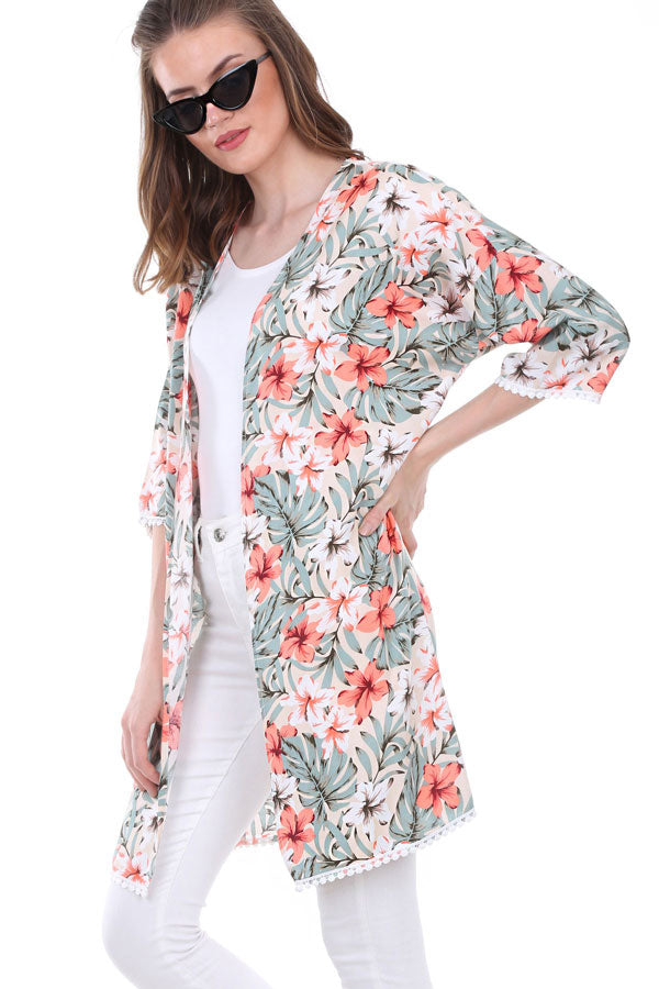 Cardigans Bobble Hem Floral Kimono - Mythical Kitty