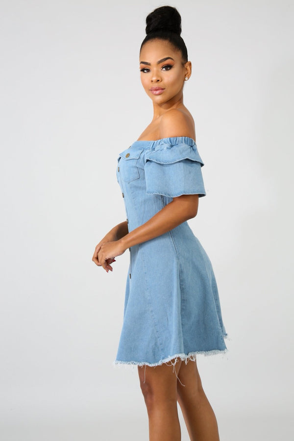 Dresses Melissa Off-Shoulder Denim Dress - Mythical Kitty