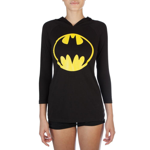 Graphic Shirts BATMAN JRS HOODED RAGLAN W/EAR - Mythical Kitty