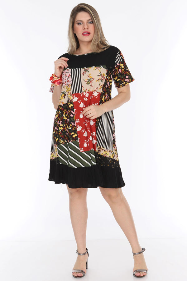 Multi-Print Black Dress - Mythical Kitty