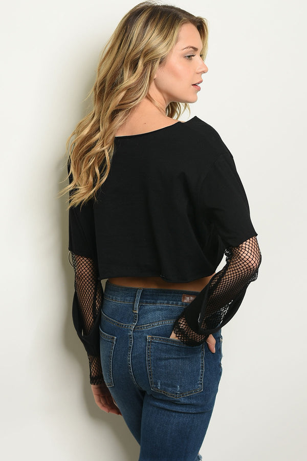 Women's Fashion - Women's Clothing - Blouses & Shirts Mesh Detail Crop Top - Mythical Kitty