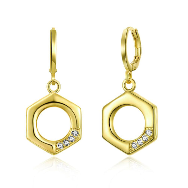 Earring Hexagon Swarovski Drop Earrings in 14K Gold - Mythical Kitty