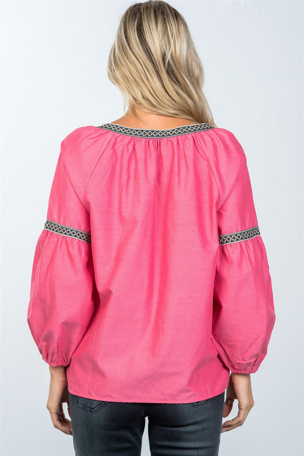 Tribal Embroidery Blouse - Mythical Kitty