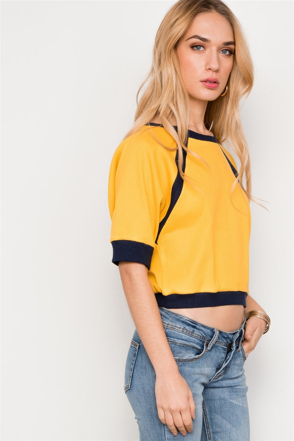 Crop Tops Dolmen Sleeve Ribbed Cropped Top - Mythical Kitty