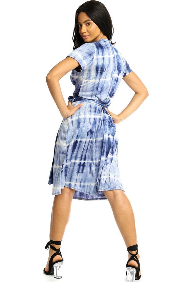 Dresses Wrapped Style Tie-dye Midi Dress - Mythical Kitty