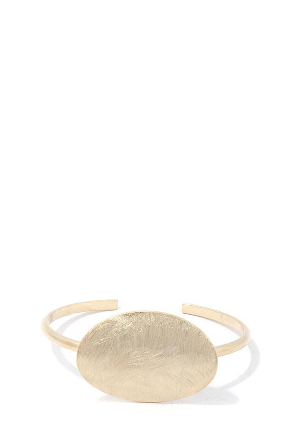 Brushed Oval Shape Cuff Bracelet - Mythical Kitty