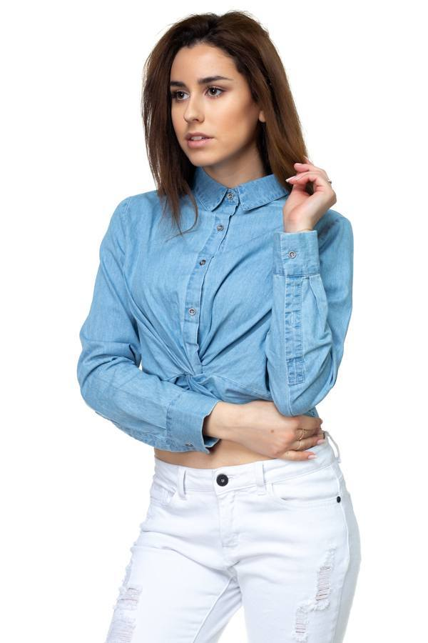 Crop Tops Twist Front Chambray Shirt - Mythical Kitty