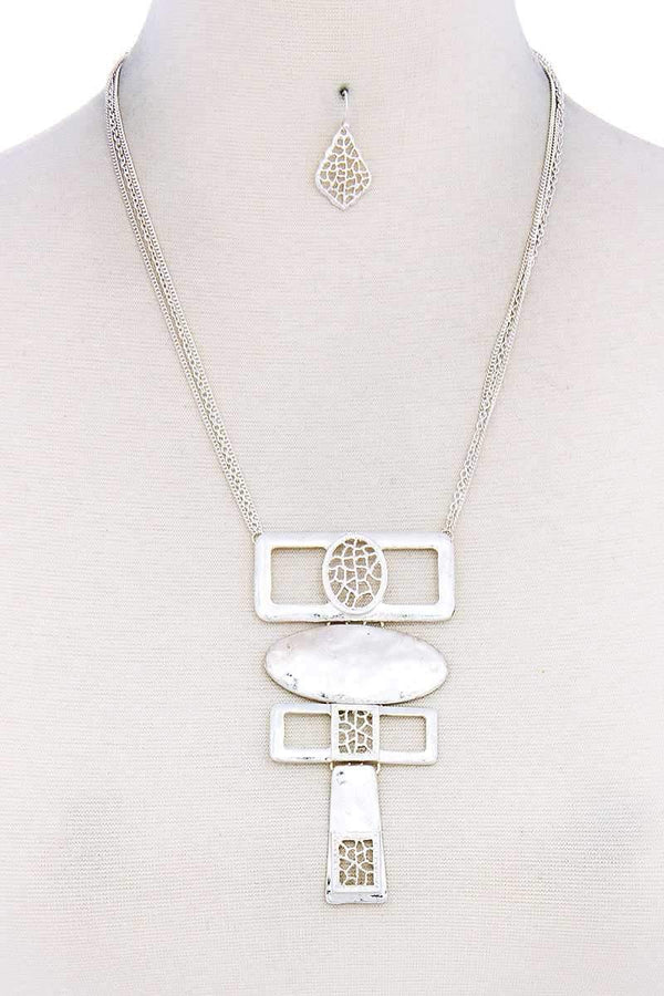 Hammered Geometric Necklace Set - Mythical Kitty