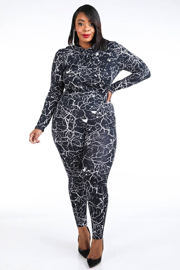 Co-ord Sets Plus Size Hoodie Top & Leggings Set - Mythical Kitty