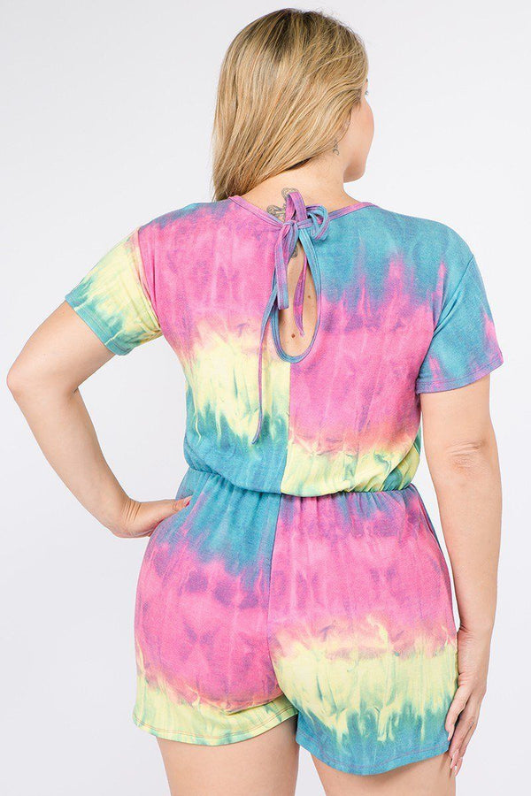 Rompers Tie Dye French Terry Short Sleeve Romper - Mythical Kitty